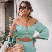 WannaThis Crop Top OFF Shoulder Slash Neck Button Lantern Sleeve Ruched Backless Elegant Autumn Solid Vacation Women Short