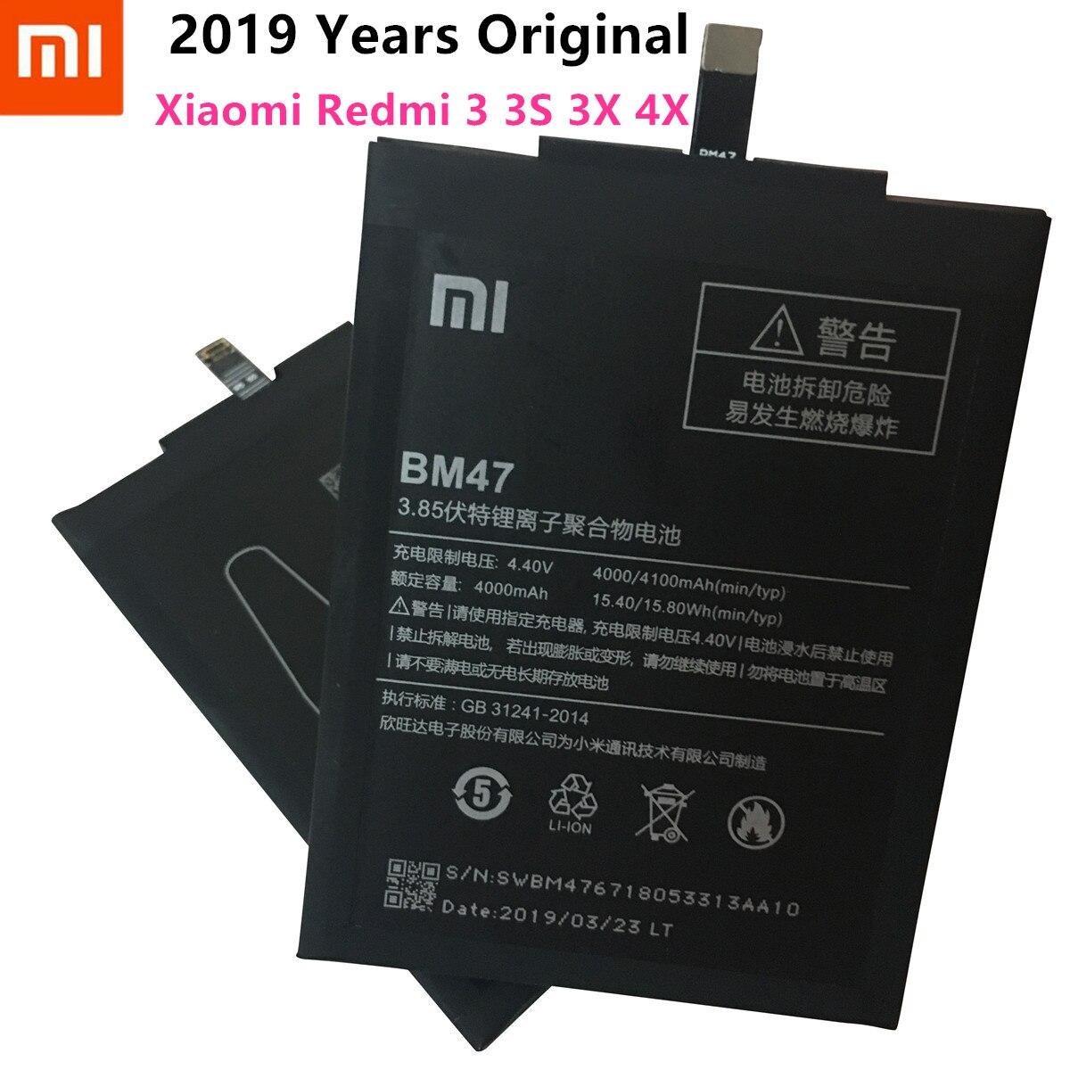 2019 anos 100% original 4000 mah bm47 bateria para xiaomi redmi 3 s redmi 3x redmi 4x hongmi 3 s redrice hongmi 3 bateria