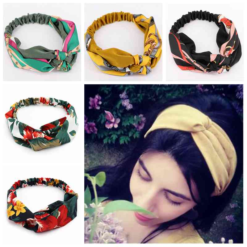 Women Stripe Headband Vintage Cross Knot Elastic Soft Solid Girls Hairband Hair Accessories,Blue