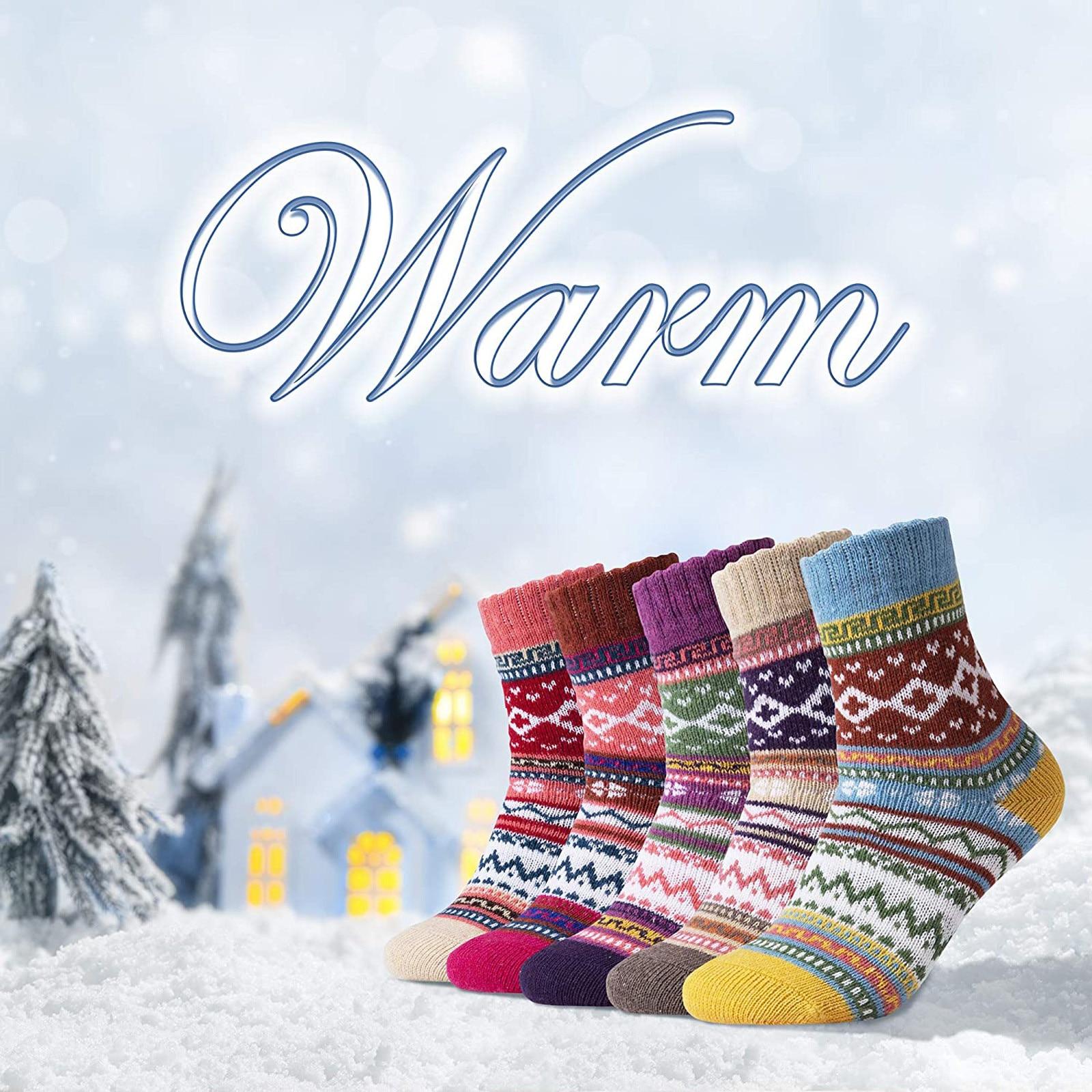 5 шт., женские теплые носки для зимы, повседневные, геометрические узоры, плотная шерсть, винтажные, яркие, вязаные, мягкие, подарочные носки, Skarpetki Calcetines|Носки| | АлиЭкспресс