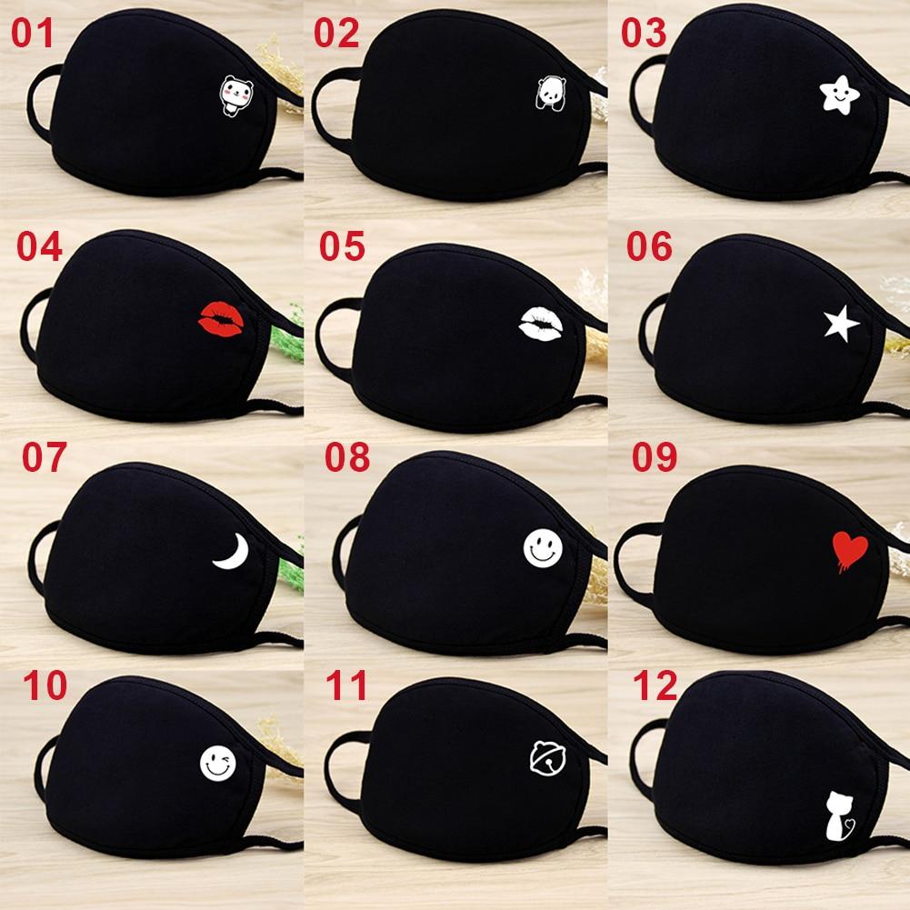 1PC Cotton Black Mouth Mask Fashion Cartoon Riding Mask Anti PM2.5 Dustproof And Windproof Unisex Face Masks