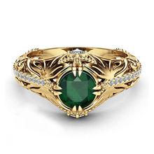 VAGZEB Vintage altın renk içi boş yüzük kadınlar için moda kadın AAA kübik zirkonya takı lüks Prong ayarı nişan yüzüğü