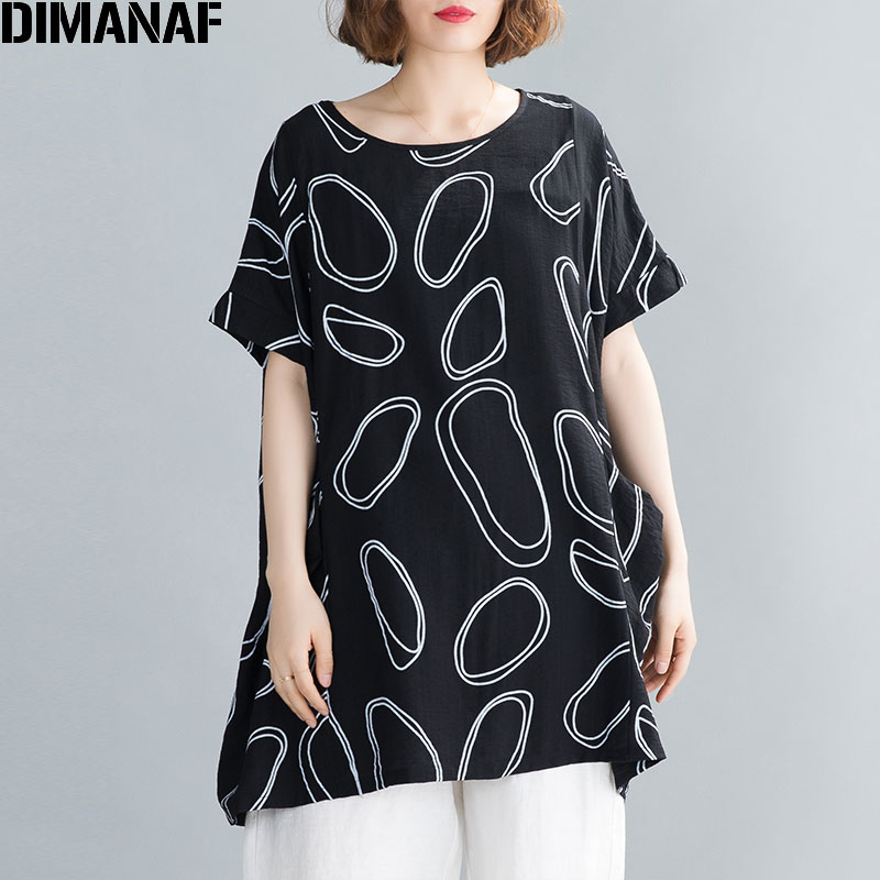 DIMANAF Plus Size Women T-Shirt Summer Casual Loose Vintage Lady Tops Shirts Pockets Print Cotton Linen Oversize Clothing Black