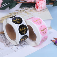 Pink Black 500pcs Roll Handmade With For Your Order Sticker Heart Thank You For Your Order Sticker tanie tanio CANAMEK CN(Origin) Thanks Sticker Paper