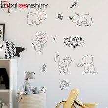 Balleenshiny Мультяшные животные обезьяна Бегемот стикер на