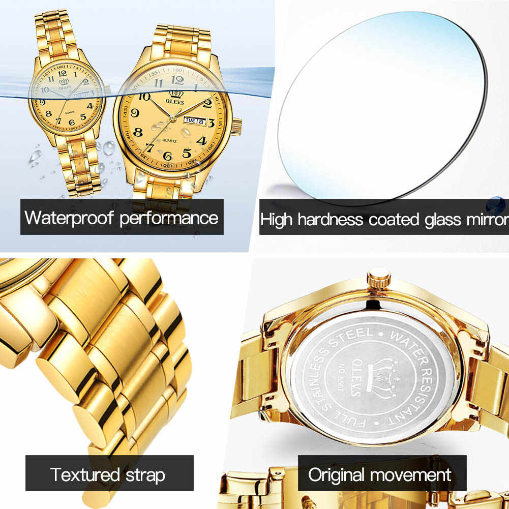 OLEVSนาฬิกาข้อมือผู้หญิงAnalogควอตซ์Easy Readนาฬิกาแฟชั่นธุรกิจสัปดาห์สแตนเลสกันน้ำปฏิทินวันที่