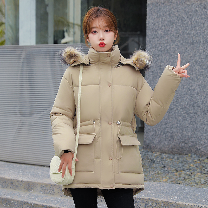 2021 Plus Size Winter Jacket Women Natural Fur Collar Hood Thicken Warm Down Parkas Female Padded Coat Loose Oversized Outerwear