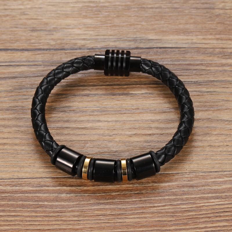 MingAo-Bracelets perlés en cuir personnalisés pour hommes, breloque Chakra monocouche, couleur or/noir, Bracelets pour femme 3