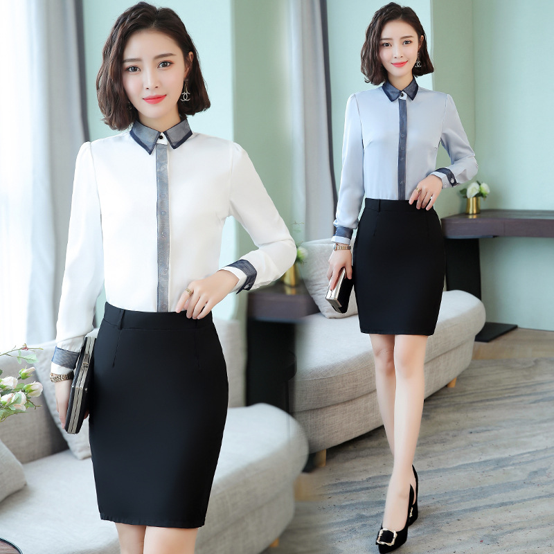 Loose-Fit Commuting White Collar White Wear Skirt Set Slimming Fashion Young-Style