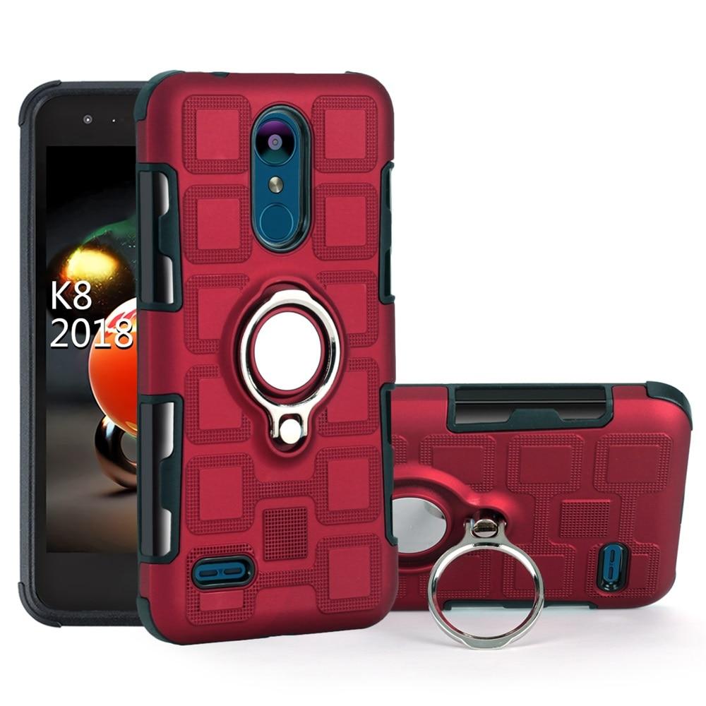 Armor Magnetic Ring Phone Case For LG K4 K8 K10 Q6 Q8 V30 K10 Q Stylo Stylus 4 Plus 2017 2018 Shockproof Stand Holder Back Cover