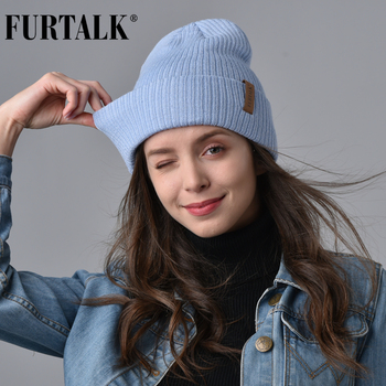 FURTALK Wool Beanie Hat for Women Winter Spring Knitted bonnet Hats for Women Stocking Cap Female Girls Skullies Beanies winter women s hats beanies colorful fox fur pompons cap girl wool knitted warm hats thick female gorro fur pompoms bonnet touca