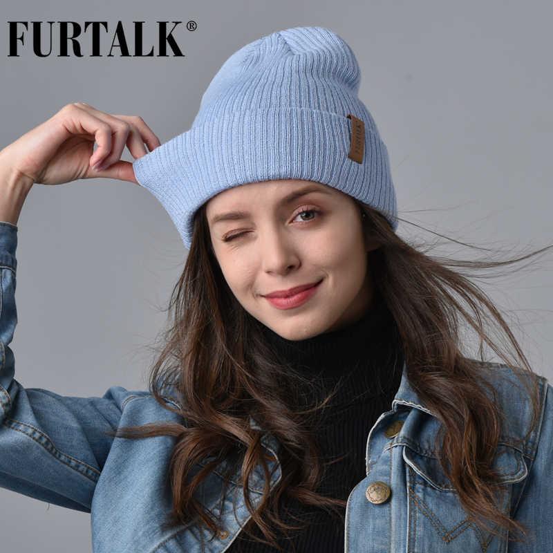 Gorro de lã gorro de lã para mulheres inverno primavera malha bonnet chapéus para mulheres boné de meia feminino meninas skullies beanies