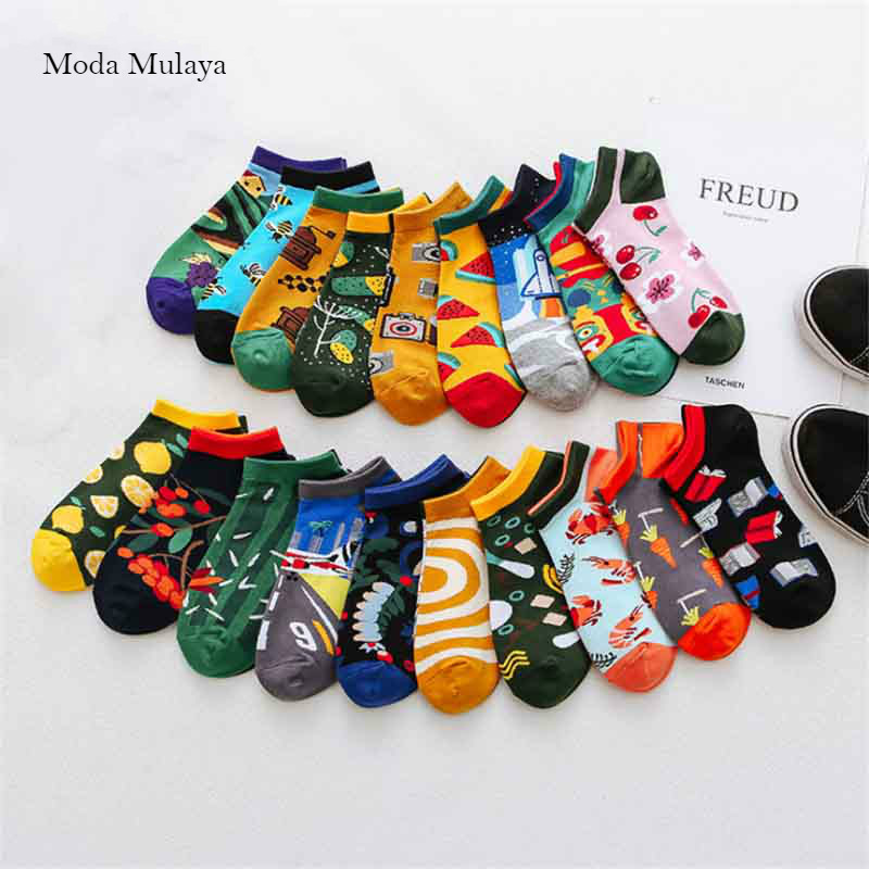 Moda Mulaya Creative Funny Men's   Socks   Invisible Low Cut Ankle   Sock   Summer Casual Breathable Short   Socks   Unisex Coton & Women