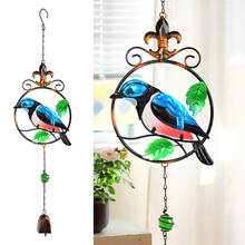 Metal Handmade Hummingbird Wind Chime Glass Painted Ornaments Creative Home Garden Bell Tube Pendant Retro Decoration Art(China)