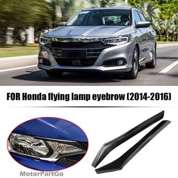 Real Crabon Fiber Head light Eyelid Eyebrow Cover Trim 1pair for Honda Stream 2014-2016 T185 1