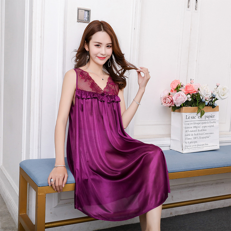 Spring Summer Sexy Viscose Slip Nightdress Women's Pajamas Women's Plus-sized No-liner Skirt Tracksuit