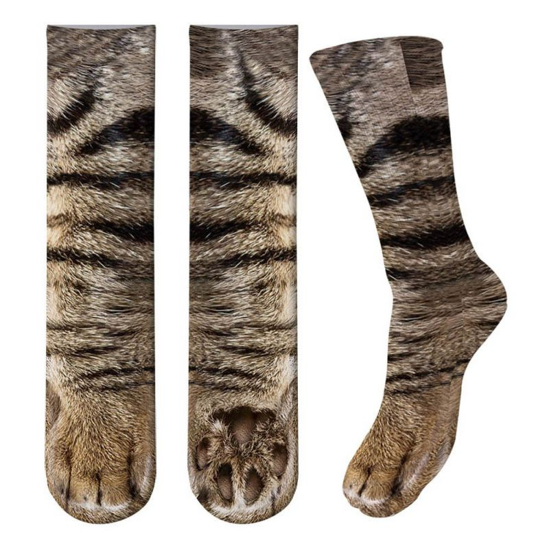 3D Print Adult Cute Cat Animal Paw Socks Unisex Crew Long Medium Stocks Elastic Breathable Sports Socks