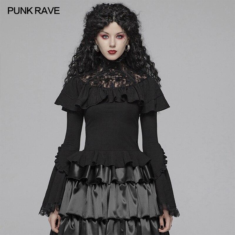 PUNK RAVE femmes Lolita dentelle col roulé élastique tricoté T-shirt gothique mode fête Club Sexy hauts à manches longues chemise femmes