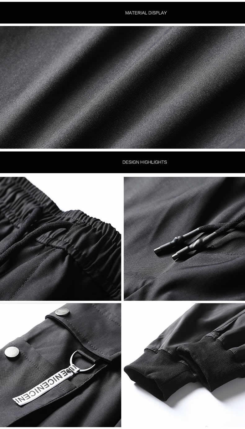 2019 summer vintage multi-pocket men's cargo pants hip-hop style black pocket men's jogging pants south Korean fashion sweatpant