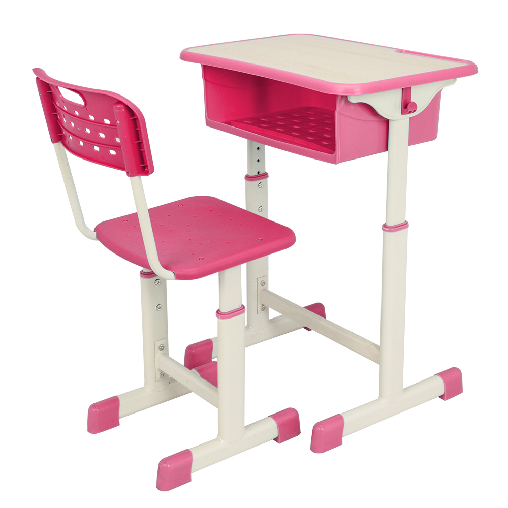 【US Warehouse】Adjustable Student Desk And Chair Kit Pink