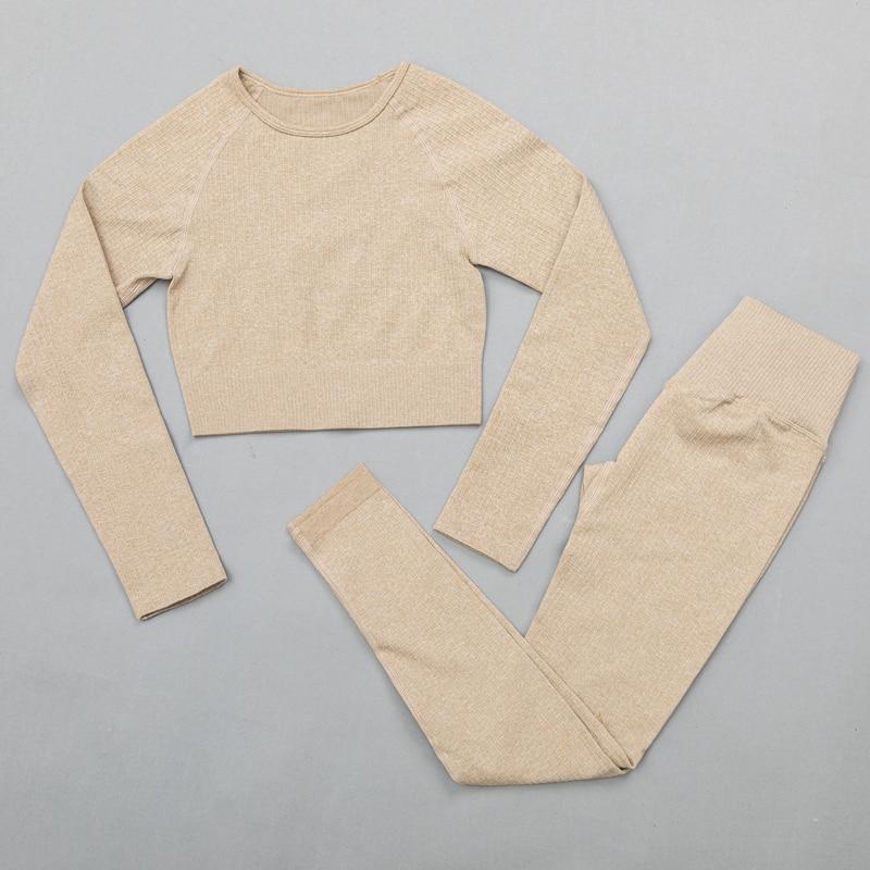 ShirtsPantsKhaki - Women's sportswear Seamless Fitness Yoga Suit High Stretchy