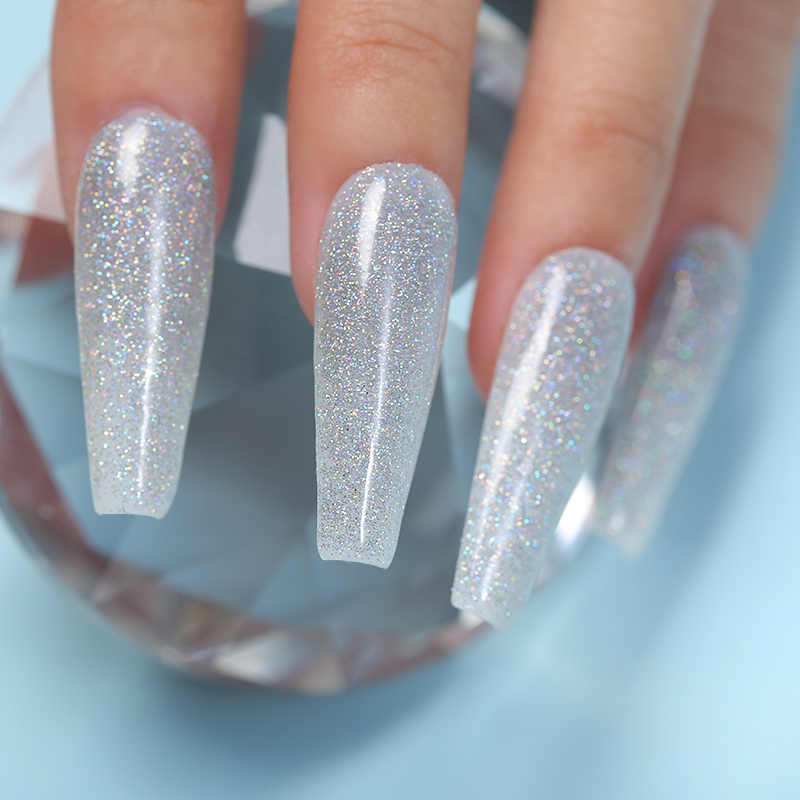 Azuer Kecantikan Berlian Glitter Mencelupkan Bubuk Terbaru Warna Kuku Berkilau Debu Warna Gradien Kering Alami DIP Sistem Bubuk