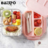 Baispo Lunch Box For Kids Glass Microwave Bento Box Food Container And Compartment Storage School Leakproof Kitchen Heated