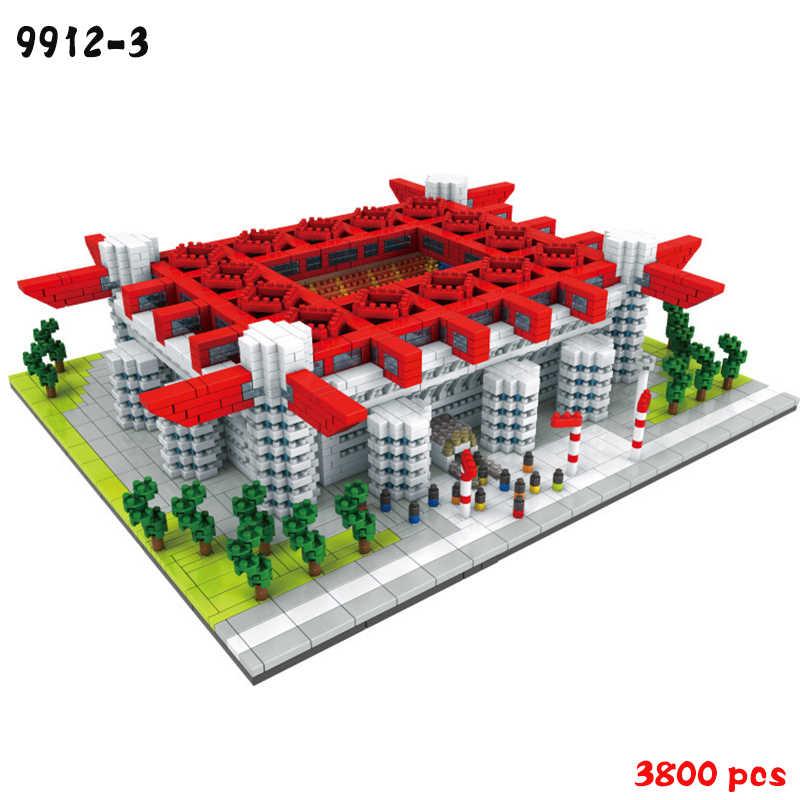 International AC Milan Borussia Dortmund Sepak Bola Klub Signal Iduna Park Duplo DIY Mini Diamon Blok Bangunan Bata Mainan