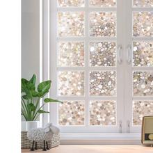 Rabbitgoo Privacy Window Film Decorative Static Cling Glass 3D Pebble for Home Office 60x100/200cm