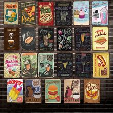 [ DecorMan ] Free Wifi BEER COFFEE PIZZA Metal Signs Custom wholesale Paintings Bar PUB Decor Y-1