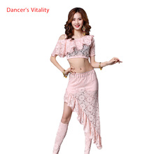 الدانتيل الشرقي الشرقي أزياء رقص مجموعة بلايز + تنورة قصيرة الخصر التنانير للنساء الرقص الشرقي الرقص الملابس راقصة ارتداء