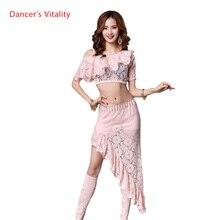 Pizzo Oriental Costumi di Danza Del Ventre Set Magliette E Camicette + Gonna corta Gonne A Vita per le Donne Indiane di danza del Ventre Vestiti di Ballo Ballerino Usura