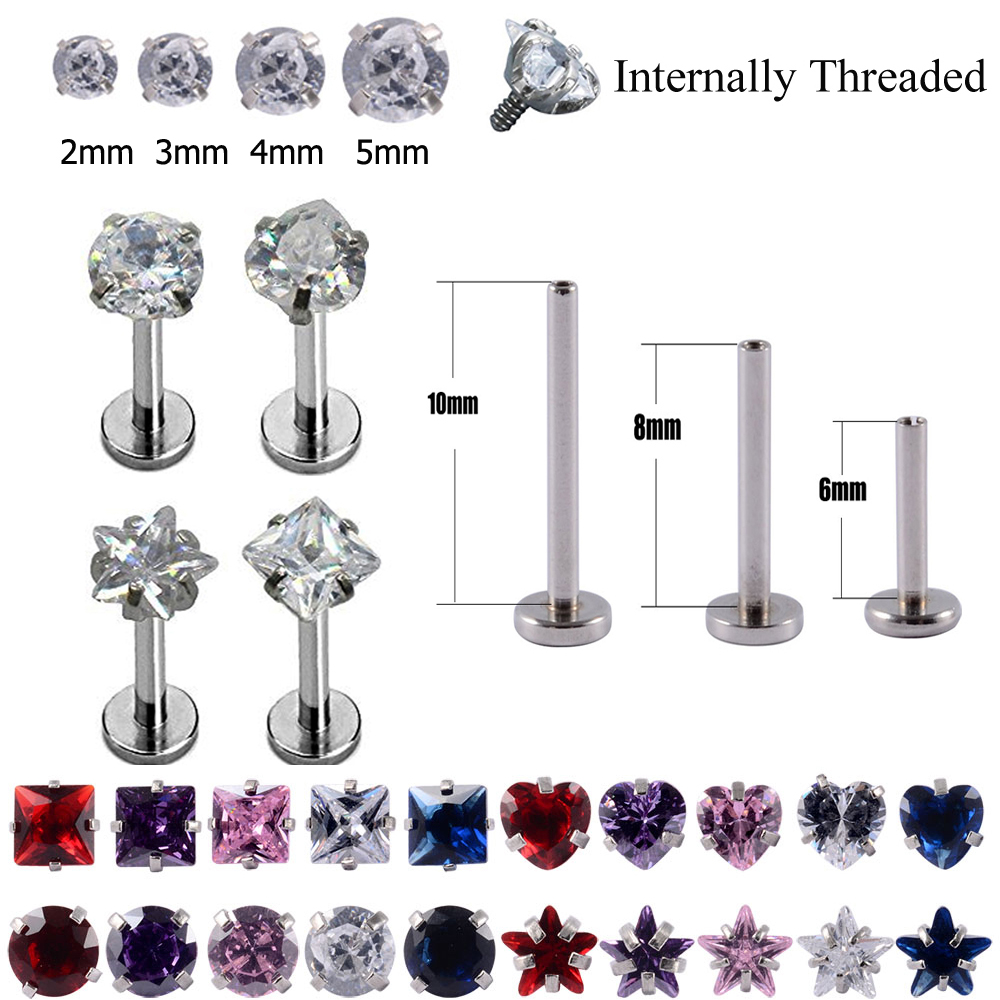 1pc Surgical Steel Prong Set Zircon Ear Helix Tragus Lip Stud Cartilage Earring Labret Monroe Ring Body Jewelry Retainer 16g,3mm Heart Zircon,Purple