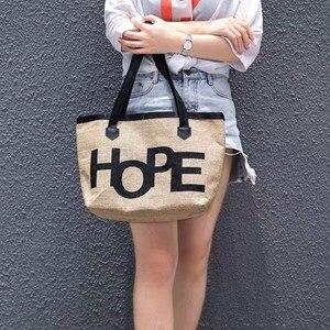 Image 2 - Europejski styl oryginalny Design juty torebki torba na ramię dla ucznia na zakupy torba eko