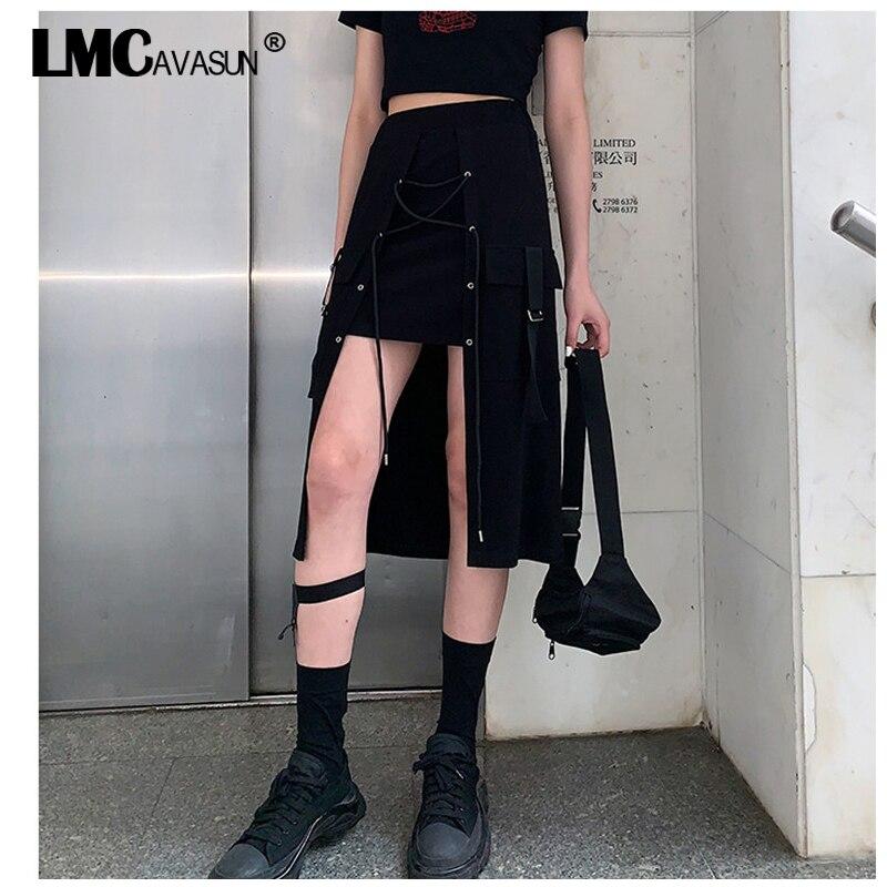 LMCAVASUN новые летние, в стиле панк, готика, Харадзюку черная юбка, модная, свободная, Женская длинная юбка бандаж половинной длины юбка 4XL