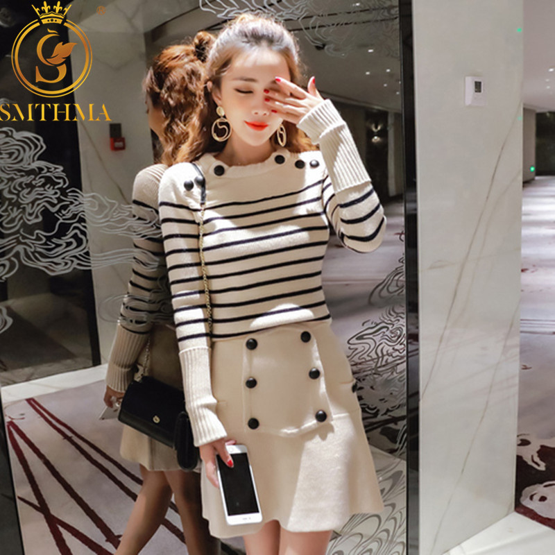 2019 Autumn And Winter Knitted 2 Piece Set Women Long Sleeve Stripe Pullover Sweater +Double-breasted Runway Knitting Skirt Suit