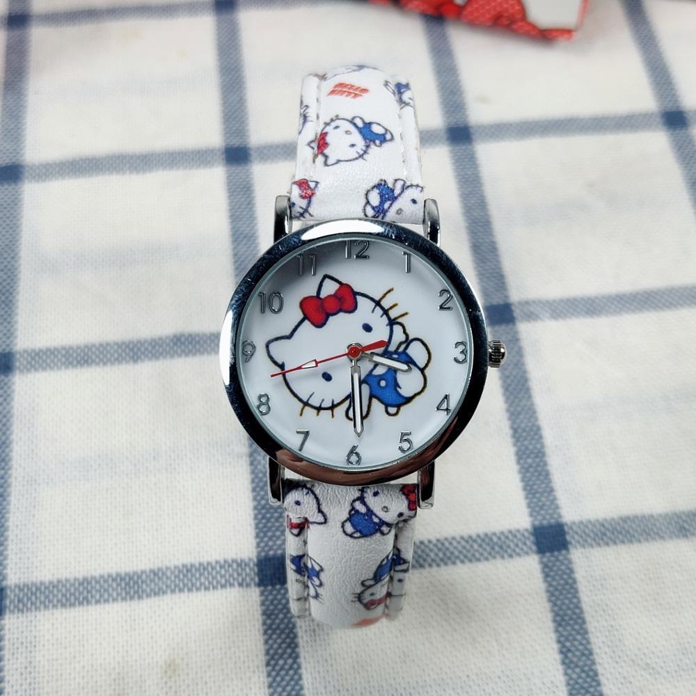 KT маленький белый девочка часы ребенок часы высокое качество кожа принт ремешок кварц часы дети K T аксессуары мальчики наручные часы