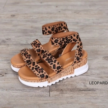 New 2020 Fashion Solid Platform Sandals Women Serpentine Peep Toe Mid Heel Wedge