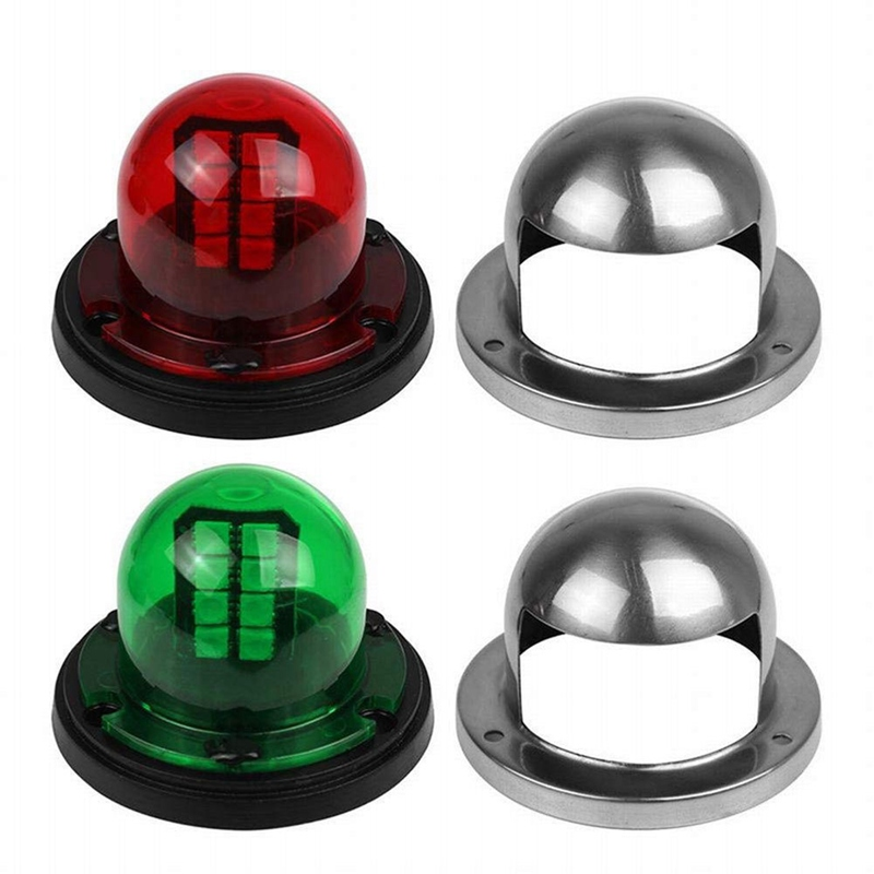 1 Pair Boat Accessories Stainless Steel LED Bow Sailing Signal Navigation Red Green Light Marine Yacht Indicator Tool