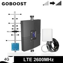 GOBOOST 4G LTE 2600 MHz מגבר אות טלפון מהדר להקת 7 Singel להקת מגבר נייד מלא להקת אנטנה 10M כבל קיט