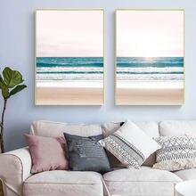Минималистичный розовый пляжный холст с изображением океанских