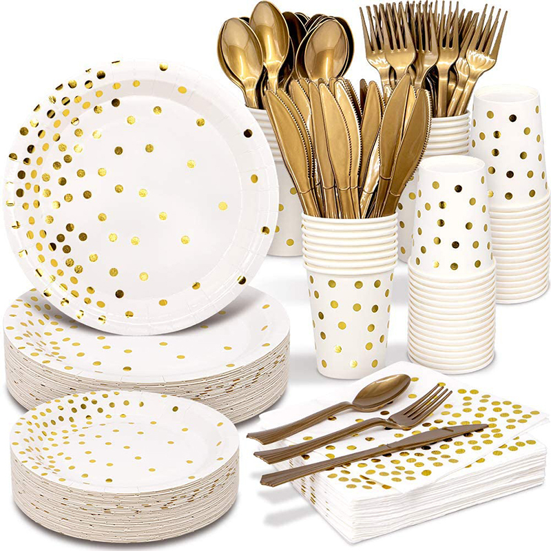 Bronzing golden dots party disposable tableware set supplies tissue paper tray for baby shower birthday party supplies