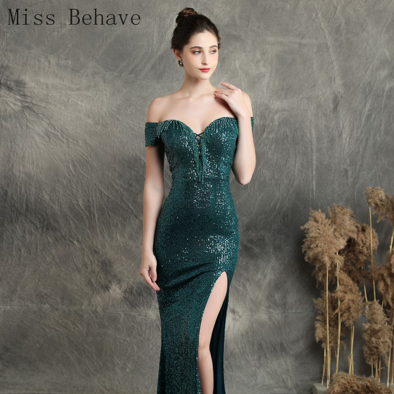 DD JYOY Sequined Evening Dress Long 2020 Green Elegant Long Formal Dress Evening Gown Sexy Front Split Off Shoulder Zipper Back