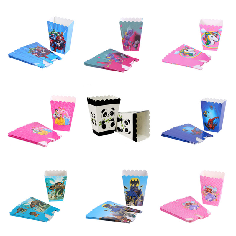 6/12pc Popcorn Box Cartoon Princess Unicorn Panda Avengers Paper Pop Corn Candy Snacks Gift Bag Kids Birthday Party Supply Favor