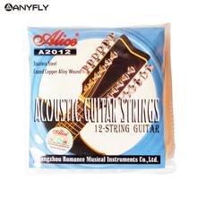 Alice a2012 12 cordas da guitarra acústica cordas 010-026 peças do instrumento musical acessórios 12 cordas da guitarra 1 conjunto