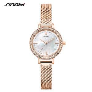 Image 2 - SINOBI Neue Frauen Luxus Marke Uhr Elegante Quarz Damen Wasserdichte Armbanduhr Weibliche Mode Casual Uhren Uhr reloj mujer