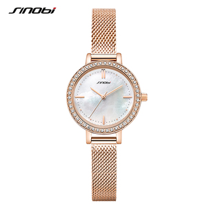 Image 2 - SINOBI reloj de marca de lujo para mujer, elegante, de cuarzo, resistente al agua, de pulsera, informal, femenino