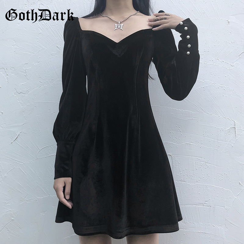 Goth Dark Longsleeve Gothic Vintage Female Dresses Spring 2020 Grunge Punk Egirl Emo Aesthetic Pleated Y2K Mini Dress Harajuku