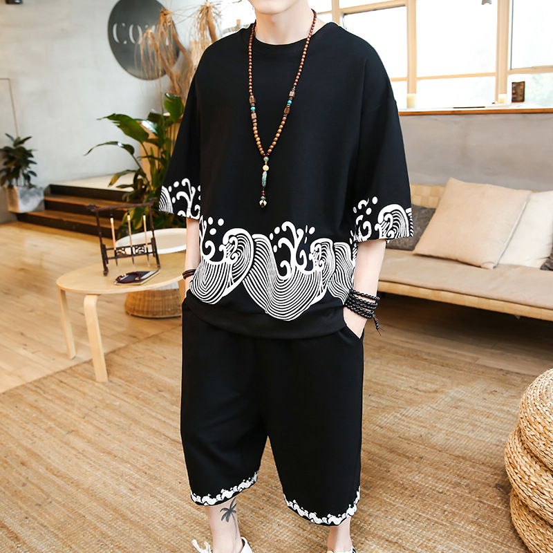 2019 New Style Chinese-style Ribbed Pattern At Hem Wave Printed Set Flax Loose-Fit Versatile Crew Neck Retro Men'S Wear