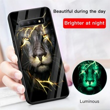Lion Phoenix Wolf Tiger Luminous Glass Case For Samsung Galaxy S10 e 5G S9 S8 Plus Note 8 9 10 Pro Luxury Phone Cover Funda